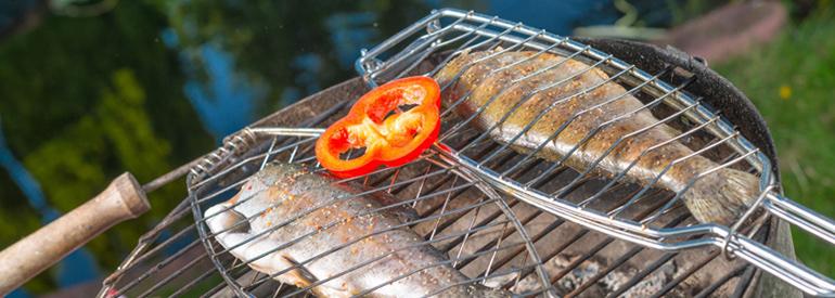 Alimenti sulla griglia con un occhio ai nutrienti